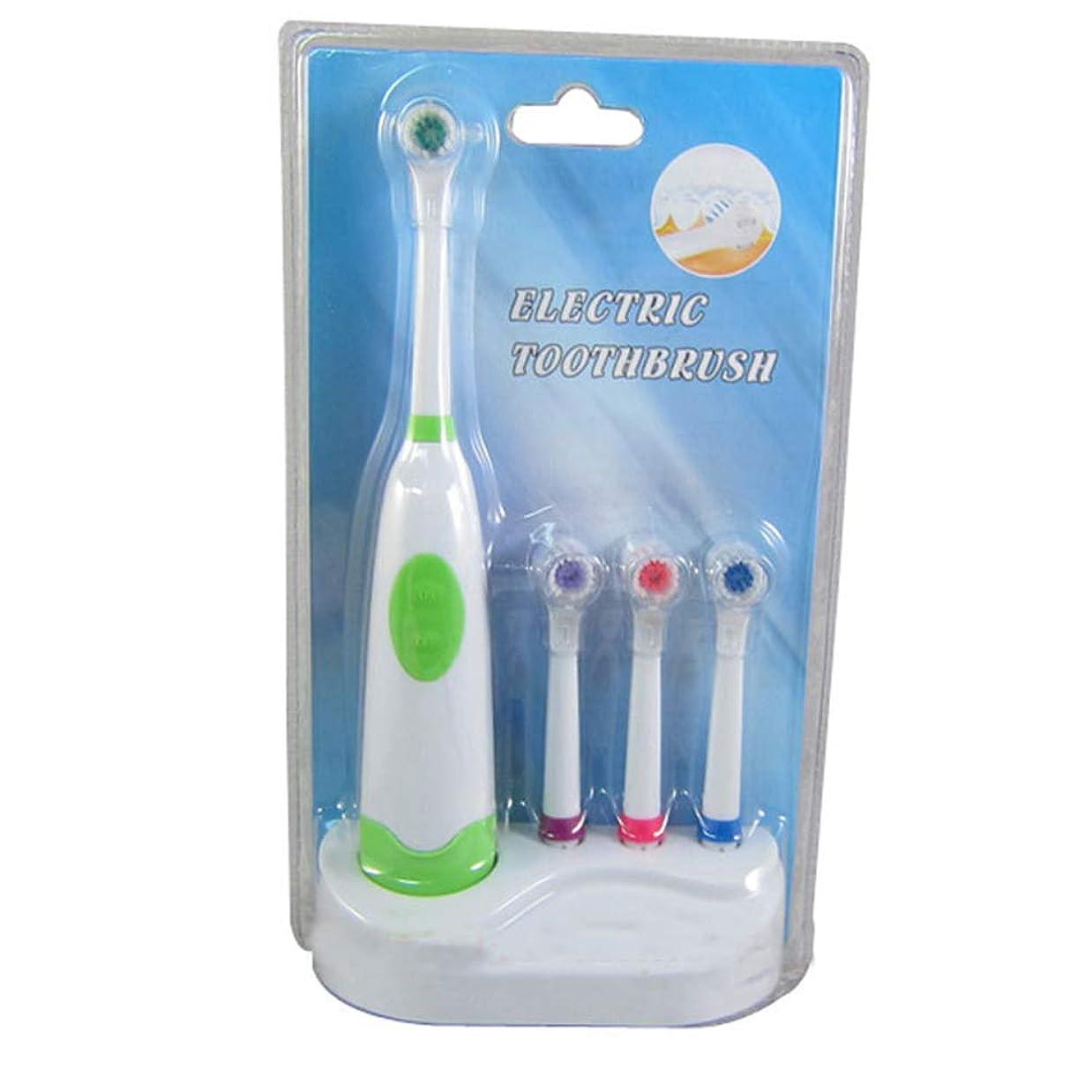 いじめっ子下に向けます展望台2PCSロータリー自動電動歯ブラシ、超音波防水オーラルクリーニング、ベース付き4ブラシヘッド4シールド(バッテリーなし),A