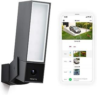 Netatmo Smarta Utomhuskamera med inbyggd belysning Presence Security, igenkänning av personer, bilar och djur, Svart alumi...