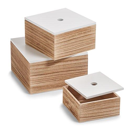 Zeller 15148 Aufbewahrungsbox, 3er Set, ca. 16 x 16 x 8 cm; 20 x 20 x 11,2 cm; 24 x 24 x 14 cm, weiß/natur, Holz