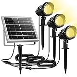 Luces Solares Jardín MEIKEE 3 en 1 LED Foco con Panel Solar Blanco Cálido 3000K 2 Nivels Brillo Ajustables Impermeable...