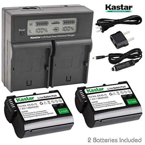 Kastar ENEL15 2X Battery + USB Dual Charger for Nikon EN-EL15, MH-25 and Nikon 1 V1, D500, D600, D610, D750, D800, D7000, D7100, D800, D800E DSLR Camera, Grip MB-D11, MB-D12, MB-D14, MB-D15, MB-D16