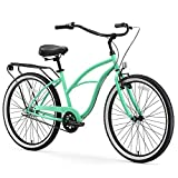sixthreezero Around The Block Women's 3-Speed Beach Cruiser Bicycle, 24' Wheels, Mint Green with Black Seat and Grips