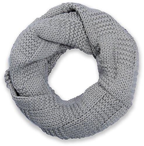 styleBREAKER Strick Loop Schal mit Patentmuster, Uni Feinstrick Schlauchschal, Winter Strickschal, Unisex 01018152, Farbe:Hellgrau