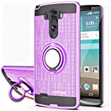 YmhxcY Compatible for LG G3 Stylus Case,LG D690 Cases (Not LG G3) with HD Screen Protector,YmhxcY 360 Degree Rotating Ring & Bracket Dual Layer Resistant Back Cover for LG D690-ZH Purple