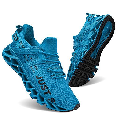 JSLEAP Turnschuhe für Männer Sportschuhe Laufschuhe Atmungsaktiv Leichte Turnschuhe, Blau, 44