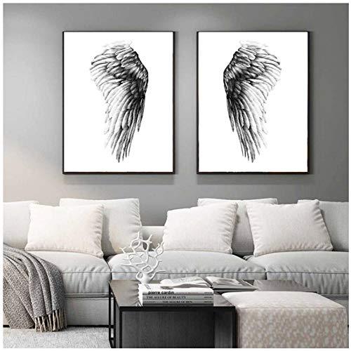 Terilizi zwart wit letters vleugels vliegen plant kleur canvas schilderij voor woonkamer decoratie kunstdruk decor muur pictures-40 * 60 cm zonder lijst - 2 stuks