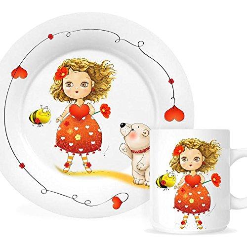 Set Assiette Plate, Assiette Creuse et Mug Coeur de Marie