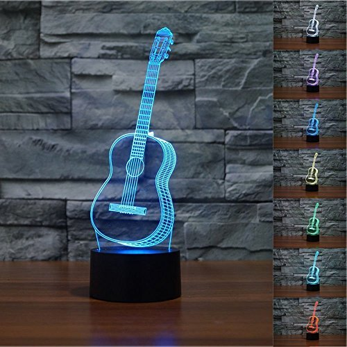 Lámpara 3D, VSOAIR Luces de Noche 3D LED USB Touch con 7 Luces de Escritorio de Iluminación óptica de Color para la Decoración de la Habitación de Los Niños (Guitarra)