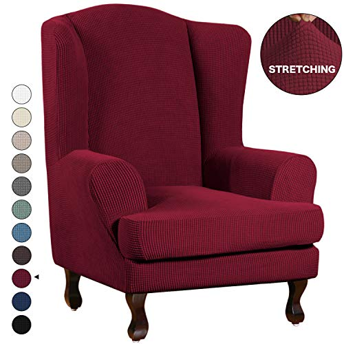 High Stretch Sofa Slipcover Wing Chair Cover Form Fit Slip Resistant Stylish Furniture Protector Polyester Spandex Jacquard Fabric Small Checks Wing Back Cover (Wing Chair, Burgundy)