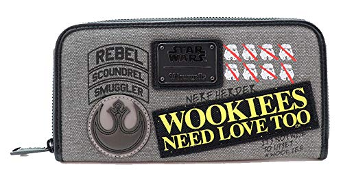 LOUNGEFLY - Cartera Denim Star Wars diseño Wookie con Parches