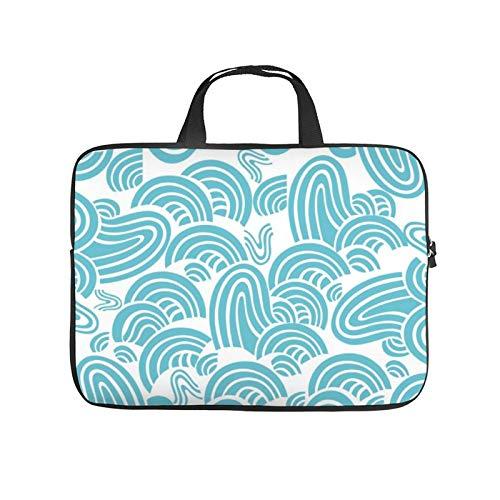 17inch Laptop Shoulder Messenger Bag, Laptop Case, Aqua Waves with Green Line Turquoise Teal Design, Laptop Shoulder Bag, Messenger Bag Case, Business/Office/Work Bag