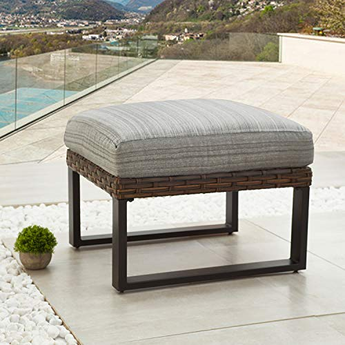 Festival Depot Dining Outdoor Patio Bistro Furniture Ottoman Footstool with Premium Fabric Soft 6.3' Cushion Wicker Rattan Rectangle Metal Slatted Steel Leg Foot Rest for Garden Yard Lawn All-Weather
