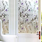 Iris Flower Frosted Non Adhesive Decorative Window Film, Static Cling Glass Film, Removable Privacy Door Film Window Cling, Stained Glass Window Decoration Heat Control & Anti UV, 35.5x78.5 inch