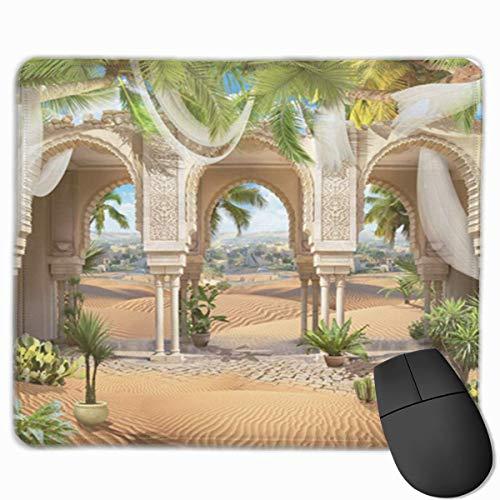 Muiskussen, bureaumuis, muiskussens, muismat mooie oosterse bogen witte gordijnen en zonnige hete woestijn