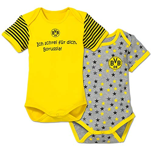 BVB Kinder Babybody Set 2 Stück, gelb/grau/schwarz, 86, 2466523