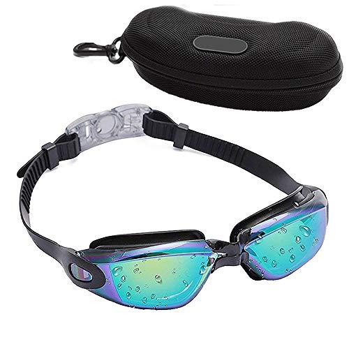 Gafas de natación, Gafas de natación No goteante Gafas de protección contra Rayos UV para Adultos Hombres Mujeres Jóvenes Niños Niño Surf Buceo, Negro