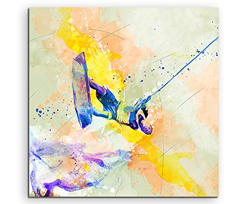 Wakeboard 60x60cm Wandbild SPORTBILD Aquarell Art tolle Farben von Paul Sinus