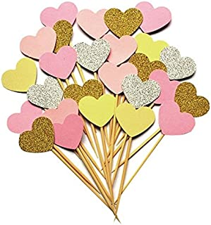iMagitek 20pcs Pink Theme Glitter Hearts Cake Decorations for Wedding Party, Baby Girls First Birthday Party and Baby Girls Baby Shower