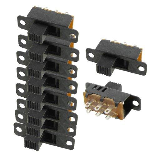 10 Piezas Alto Pomo 6 Pines 3 Posiciones DPTD Panel Interruptor Deslizante 0,5A 50V DC