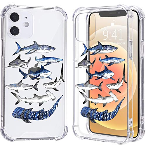LuGeKe Cool Shark Print Case for iPhone 7/8/SE 2020,Ocean Life Soft TPU Flexible Full-Body Airbag Shockproof Case Cover for Girls Women,Transparent Anti-Scratch Bumper Protection Phone Case