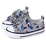 Toandon Kids Boys Canvas Shoes Sneakers for Toddler Low Top Adjustable Hook Loop Straps Velcro Sneakers with Non-Slip Rubber Sole Lightweight Breathable Outdoor Fashion (Size 9,Grey Dinosaur)