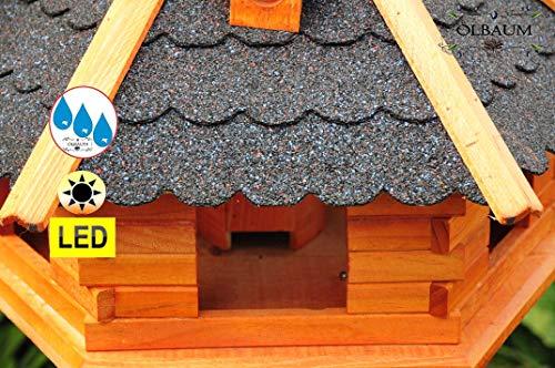 Vogelhaus-Futterhaus Massivholz,Massiv-Vogelhäuser, XXL ca. 70-75 cm, wetterfest Massivdach, mit Ständer Standfuß und Silo,Futtersilo für Winterfütterung mit Beleuchtung,Licht-LED -Holz Nistkästen & Vogelhäuser- aus Holz Holz mit Dach schwarz anthrazit BGXL75atMS - 4
