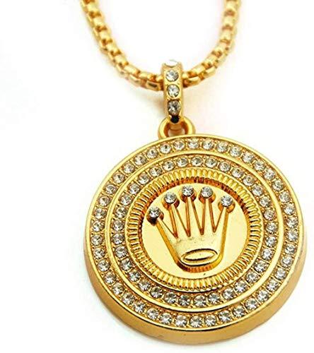 ZHIFUBA Co.,Ltd Collar Punk Hip-Hop Mujeres Hombres Corona Colgante Cristal Cadena de Diamantes de imitación Collar Joyería Creativa