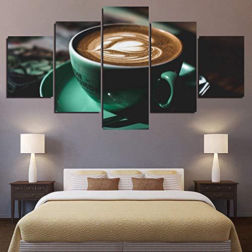 45Tdfc 5 Panel Pared Arte Pintura Taza de café Verde Tipo corazón de Amor Fotos Prints en Lienzo la Imagen Decor Aceite para decoración de hogar Moderno
