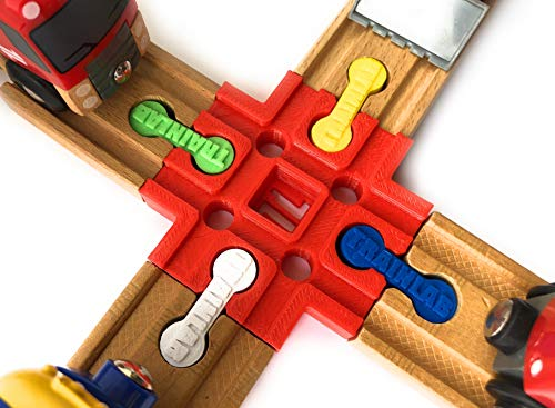 TrainLab Cross Track Connector with Dog Bones for Wooden Railway (Red)