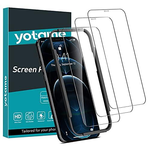 yotame 3 Stück Full Screen Panzerglas kompitabel mit iPhone 12 Pro Max 5G, 9H Festigkeit Schutzfolie iPhone 12 Pro Max Folie Mit Positionierhilfe Anti- Kratzer HD Bildschirmschutzfolie 6.7 Zoll