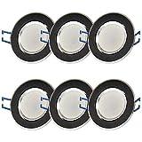 6x LED Einbaustrahler Set rund - schwarz 5 Watt kaltweiß dimmbar 230V flach (30mm Tiefe) – Einbauleuchte schwenkbar 70mm Bohrloch – Einbau-Spot neu Decken-Strahler Deckeneinbaustrahler