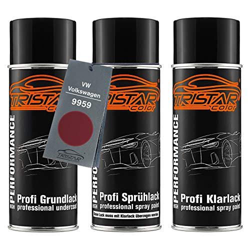TRISTARcolor Autolack Spraydosen Set für VW/Volkswagen 9959 Hotchilirot Perl/Hot Chili Red Perl Grundlack Basislack Klarlack Sprühdose 400ml