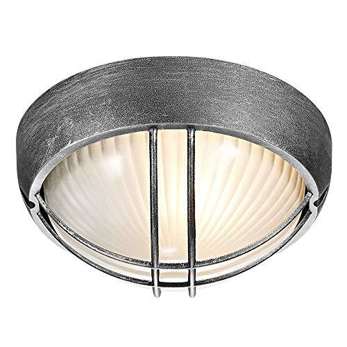 Zwart/zilver gegoten aluminium buiten cirkelvormige scheidingswand veranda of wandlamp