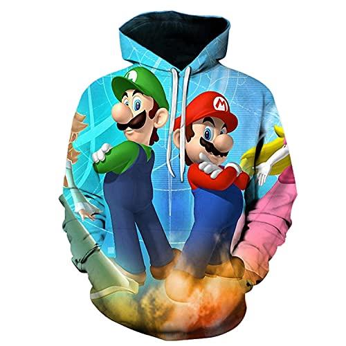 WANGZHUZHI Hombres Y Mujeres Nuevas Camisetas De Dibujos Animados Mario Bros Impresión 3D Moda Videojuego Sudaderas Deportivas Nuevas Camisetas De Dibujos Animados-Wxb00380Hd_M