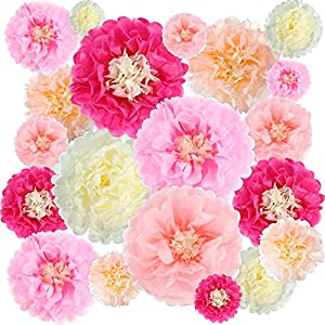 Gejoy 20 Pieces Paper Flower Tissue Paper Chrysanth Flowers DIY Crafting for Wedding Backdrop Nursery Wall Decoration