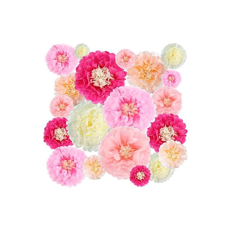 silk flower arrangements gejoy 20 pieces paper flower tissue paper chrysanth flowers diy crafting for wedding backdrop nursery wall decoration
