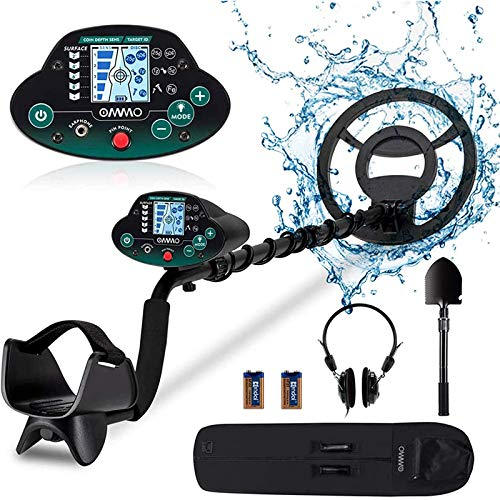 OMMO Metal Detector for Adults & Kids, High Accuracy Adjustable Waterproof Metal Detector, with Pinpoint & Disc & All Metal Mode, Great for Detecting Gold, Coin, Treasure Hunting