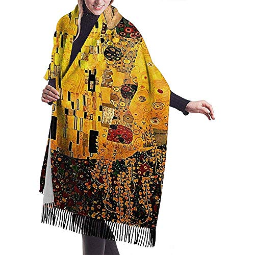 Gustav Klimt Der Kuss 3D gedruckter lässiger Kaschmir-Baumwollschal Einheitsgröße