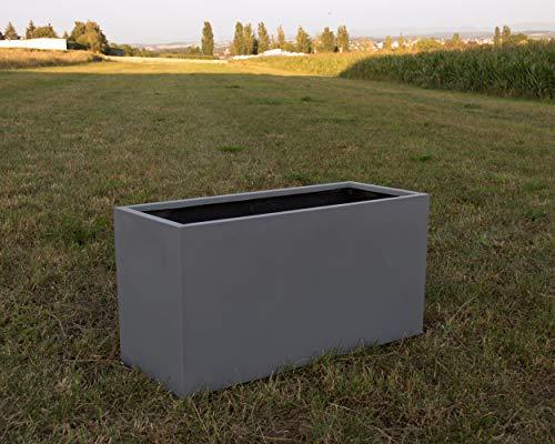 Pflanztrog Blumentrog Raumteiler Trennelement Fiberglas rechteckig LxBxH 100x40x50cm grau