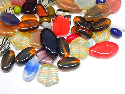 100 g Preciosa perlas de cristal Boehmische Fantasía mixtas grandes perlas de cristal checo multicolor juego de manualidades para la fabricación de joyas (juego de 14)