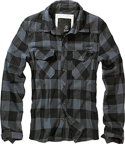 Brandit Check Shirt, Negro-Gris XL