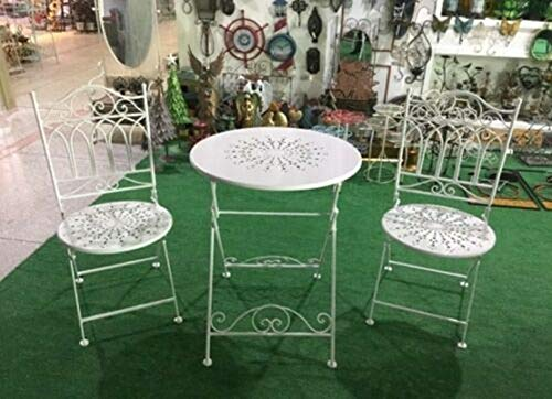 ana1store Cream Metal Tuck Eats Seating 3pcs Outstanding Wrought Iron Arch Tables Top 2 Chairs Convenient Condo Apartment Kitchen Living Room Space Furniture Patio Dining Conversation Bistro Sets