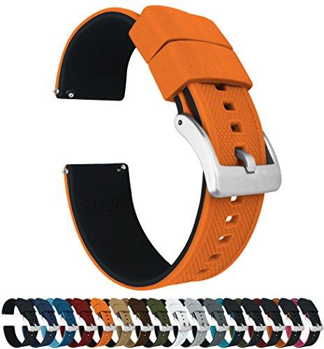Barton Elite Bracelet de montre en silicone à libération rapide, couleur au choix, 18mm, 19mm, 20mm, 21mm, 22mm, 23mm et 24mm 20mm Dessus orange citrouille et fond noir.