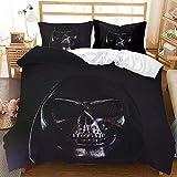 BBUY Juego de ropa de cama de 220 x 240 cm, diseño de calavera gótica con funda de almohada (3,135 x 200 cm)