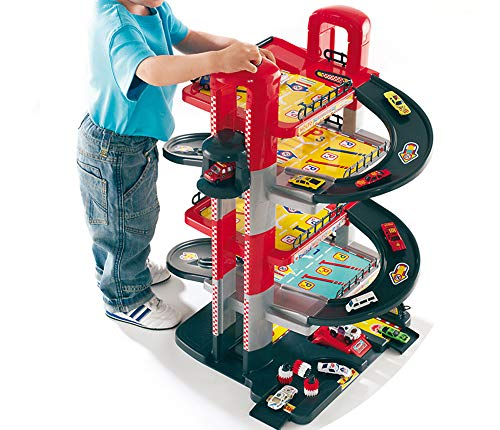Hummelladen Parkgarage, 5 Ebenen, 71cm, Stabiler Kunststoff, Man. Aufzug: Auto Spielzeug Garage Spielstrasse Spielzeugauto 5 Etagen Parkhaus