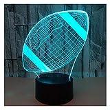 3D Illusion Veilleuse Jouet,Décor de Maison LED Lampe de Chevet Table,Tactile & Télécommander 16 Couleurs,Cadeau d'Anniversaire de Noël Pour Garçons Enfants Amis et Famille-Football Américain Rugby