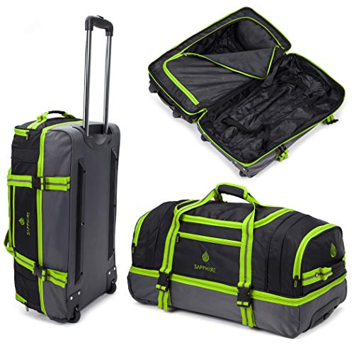 Green Lightweight Medium Holdall with Wheels Carry, Grab, Pull or Drag Trolley Handle Wheeled Trolley Holdall Suitcase Duffle Bag Travel Bag 30 Inches