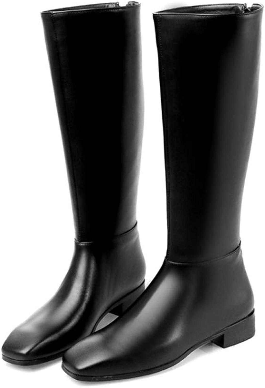 Women Knee High Boots Low Heels Square Toe Back Fashion Winter Zippers Women Long Riding Boots