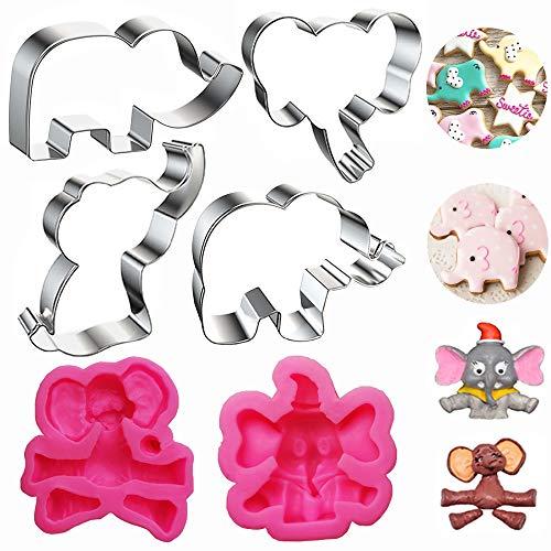 Elefanten-Keksausstecher-Set, 3D-Elefanten-Baby-Party-Kuchenform, 6-teilig, Elefanten-Fondant-Form für Babyparty, Elefanten-Party, Zubehör für süße Elefanten-Kuchen