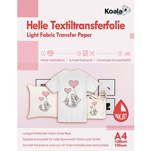Koala DIN A4 Inkjet Transferpapier Transferfolie Bügelfolie für Tintenstrahldrucker und helle Textilien DIN 10 Blatt